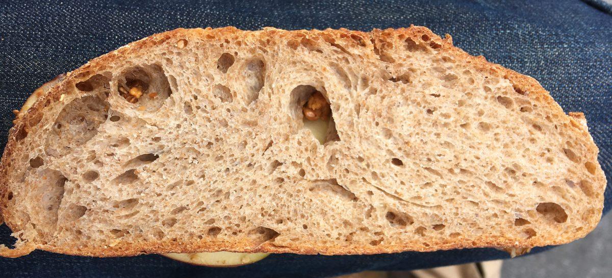 A slice of 50% Emmer sourdough bruinbrood