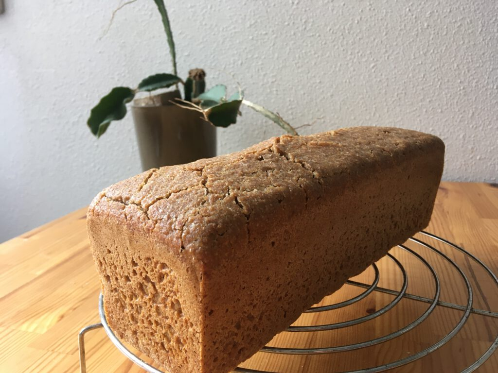 The large (1100gr) einkorn loaf baked in my 'normal' oven with overnight fermentation